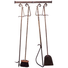 Brutalist-Style Hammered and Painted Iron Fire Tools with Wall-mounted Holder
