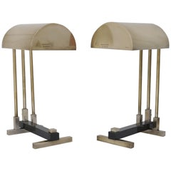 Pair of Bauhaus Table Lamps in the Style of Marcel Breuer