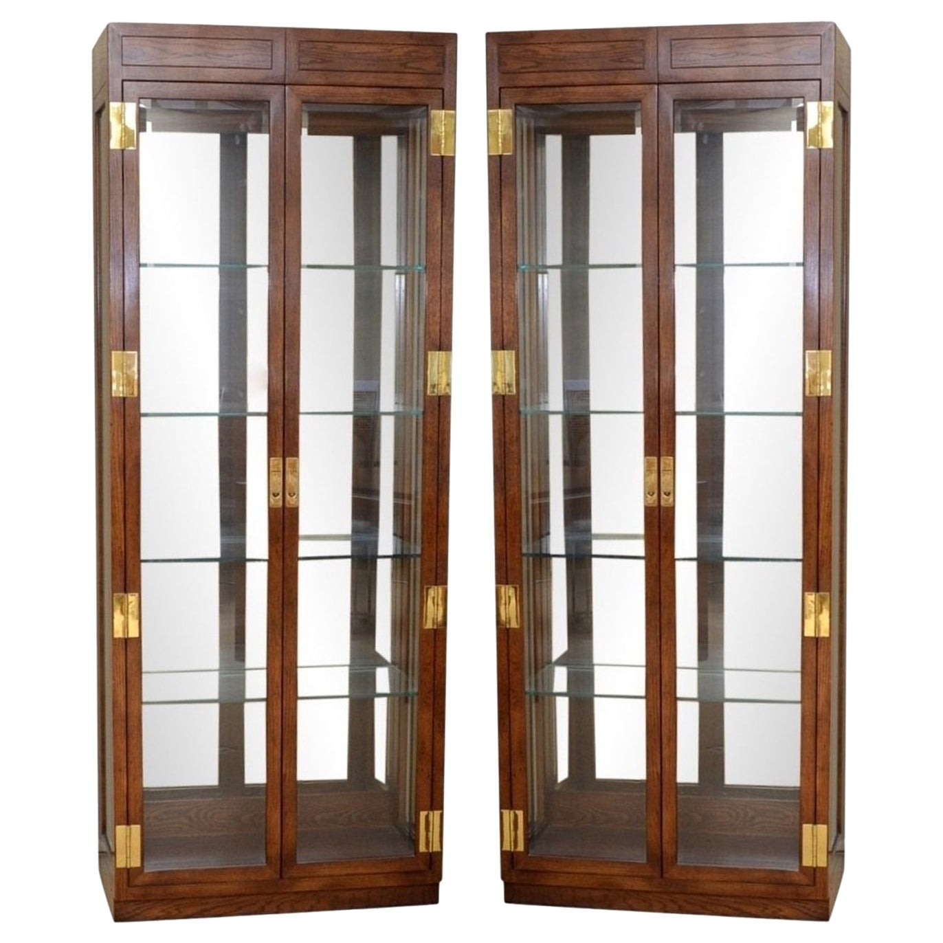 Pair of Campaign Style Curio Display Cabinets by Henredon