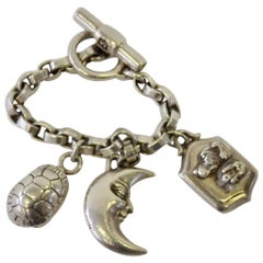 Kieselstein Cord Sterling Silver Toggle Dog Moon Turtle Charm Bracelet
