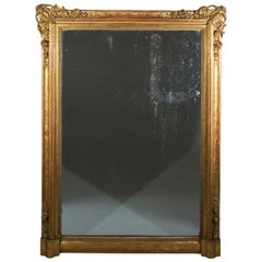 Large 19th Century Gilded Overmantel Mirror or Pier Mirror with Old Plate
