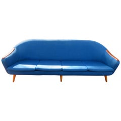 Handsome Nanna Ditzel Style Four-Seat Sculptural Teak Sofa, Midcentury Danish