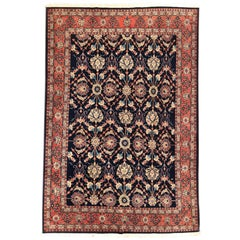 Persian Hand Knotted All over Dark Blue Floral Mahal Rug