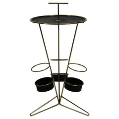 Mid-Century Modernist Perforated Metal Round Side Table with 3 Bottle Holders