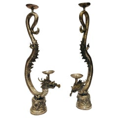 Set of Two Large Silvered Cast Metal Candle Stands Asian Dragons Sculptures