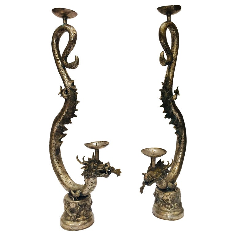 Set of Two Large Silvered Cast Metal Candle Stands Asian Dragons Sculptures For Sale