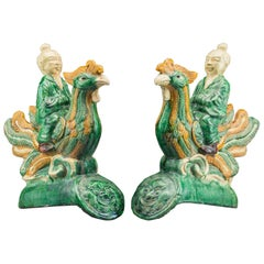 Pair of Late Ming Dynasty Sancai Glazed Roof Tiles, 18th Century