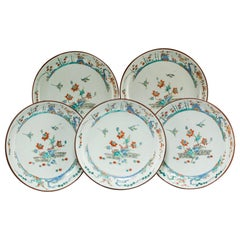 Five 18th Century Qing Dynasty Enameled Porcelain Chinese Export Plates