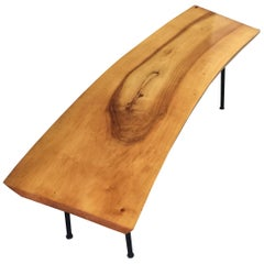 Live Edge Birch Bench or Coffee Table with Iron Legs from Germany Midcentury