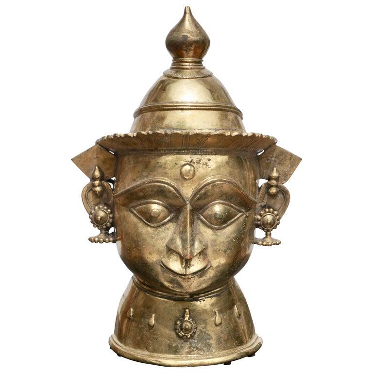 Large 17th-18th Century Indian Mukhalingam Gilt Bronze Mask For Sale
