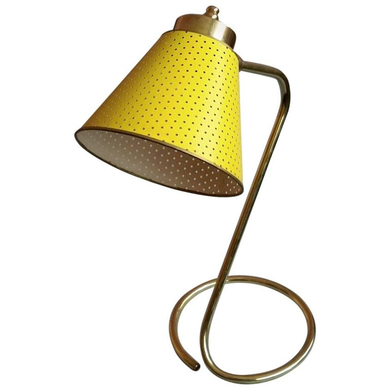 Lunel Yellow Table Lamp, Mid Century Modern France, 1950 For Sale