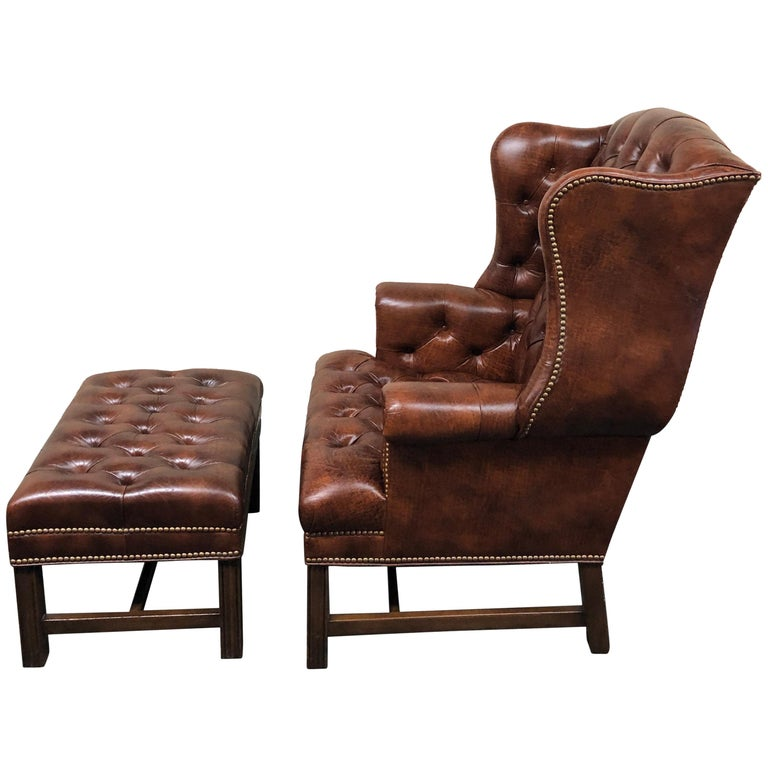 Brown Leather High Back Chair And Ottoman For Sale At 1stdibs