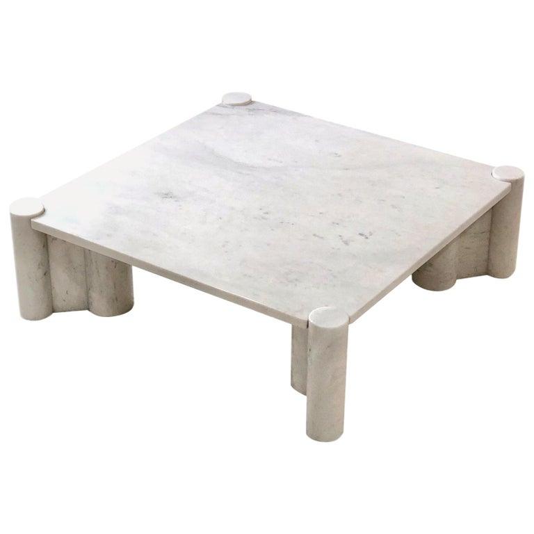 Gae Aulenti Carrara Marble Table For Sale
