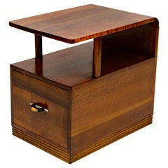 Art Deco Walnut End Table or Nightstand