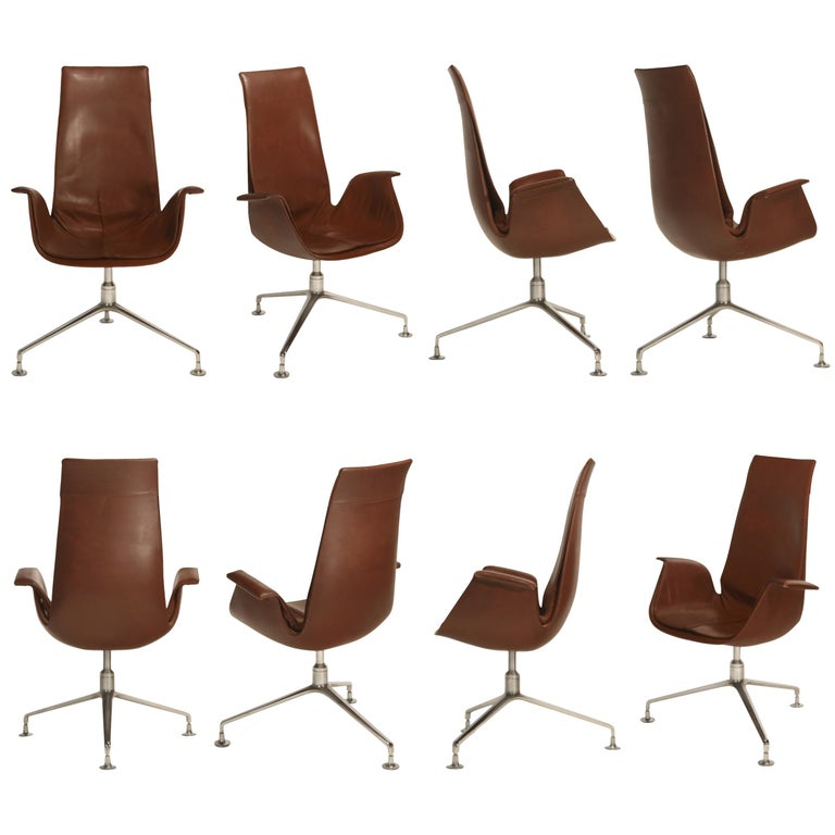 Set of Eight Bird Chairs by Preben Fabricius and Jørgen Kastholm for Alfred Kill For Sale