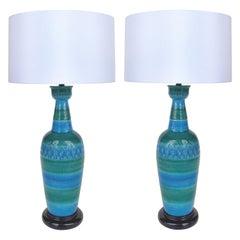 """1960s Bitossi Ceramiche Aldo Londi """"Rimini Blu"""" Ceramic Table Lamps, Italy"""