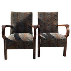 Art Deco Original Walnut Hungarian Armchairs, 1930s