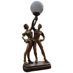 20th Century Cold Painted Bronze Influenced Ballet Dancers Lamp