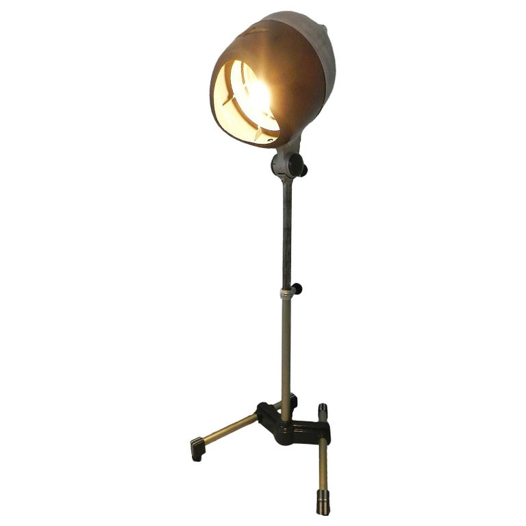 Floor Lamp Midcentury Converted 1950 Hair Dryer French Industrial One of a Kind For Sale