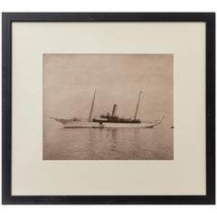 Original Gelatin Print of Fine Gentleman Steam Yacht by Wm U Kirk