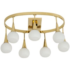 1960s Italian Brass and White Globe Chandelier