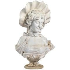 White Carrara Marble Bust, A French Elegant, circa1900