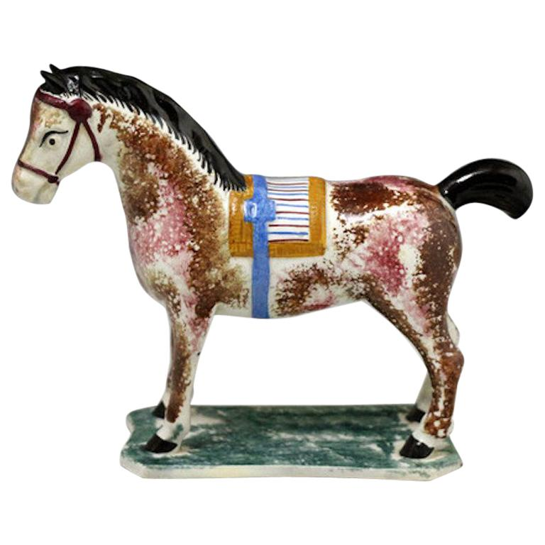 Antique English Pottery Pearlware Figure of a Horse For Sale