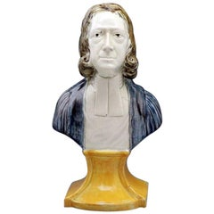 Antique English Pottery Bust of Reverend John Wesley, circa 1800 Period