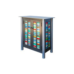 Two-Door Strips Quilt Cupboard, Functional Art Steel Furniture with Bright Color