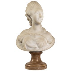 Small White Marble Bust of Countess du Barry, after Augustin Pajou