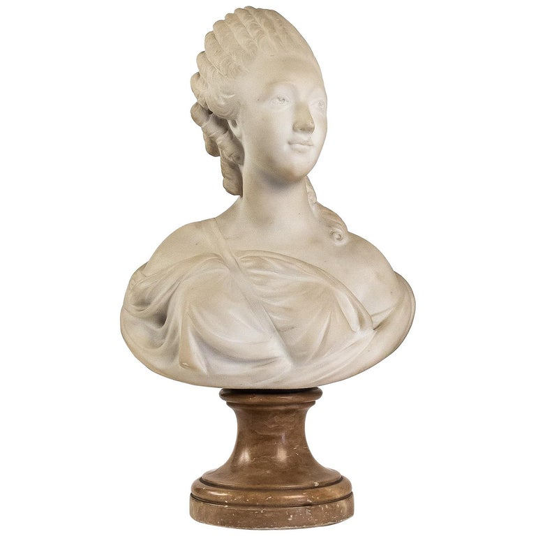Small White Marble Bust of Countess du Barry, after Augustin Pajou For Sale