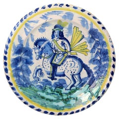 English Bristol Delftware Blue Dash Pottery Charger with an Equestrian Figure