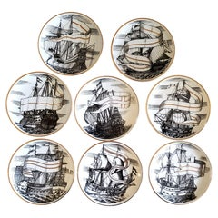 Piero Fornasetti Porcelain Set of Eight Ship Coasters, Velieri with Original Box