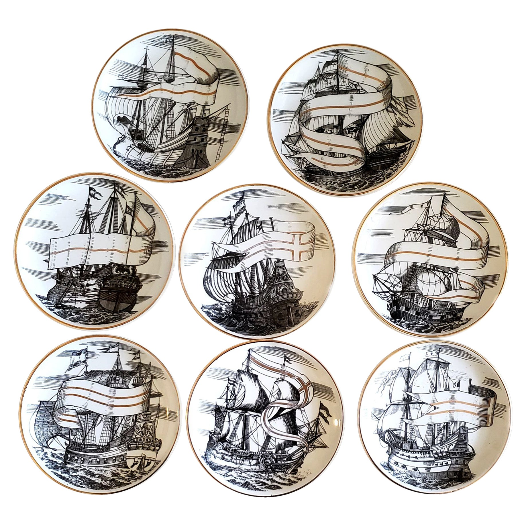 Piero Fornasetti Porcelain Set of Eight Ship Coasters, Velieri with Original Box