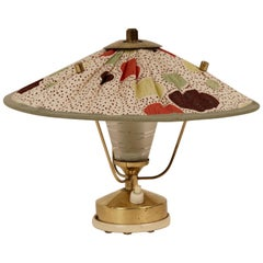 Midcentury Table Lamp with Silk Shade