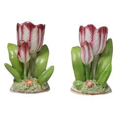Pair of Porcelain Staffordshire Tulip Ornaments, circa 1835