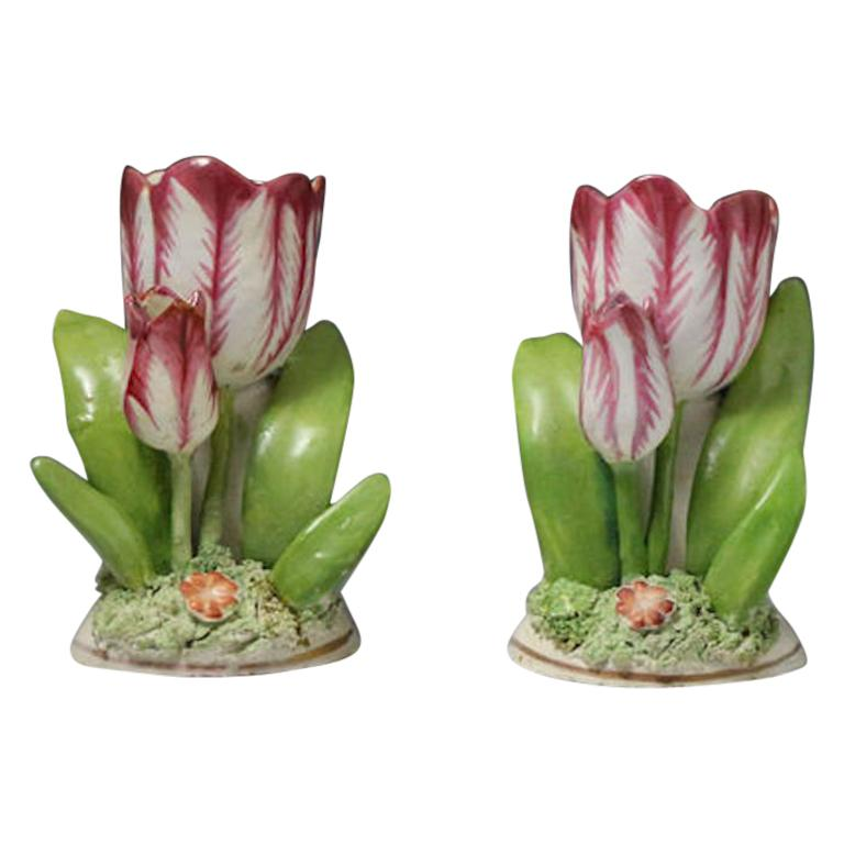 Pair of Porcelain Staffordshire Tulip Ornaments, circa 1835 For Sale