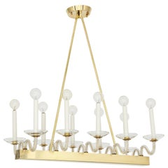Brass and Glass Midcentury Chandelier