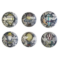 Vintage Piero Fornasetti Set of Six Plates, Mongolfiere Hot Air Balloon Design