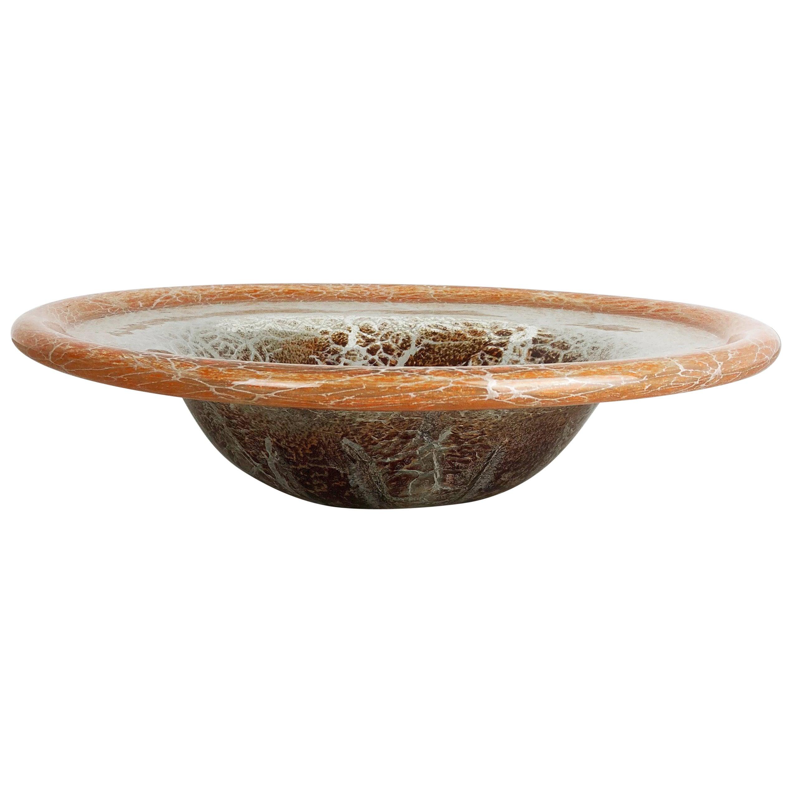 German Glass Bowl by Karl Wiedmann for WMF Ikora, 1930s Baushaus Art Deco