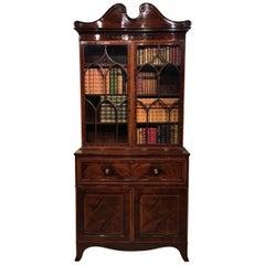 Good Mahogany Inlaid Edwardian Period Secretaire Bookcase