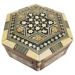 Middle Eastern Handcrafted Syrian Octagonal Box Inlaid with Mother of Pearl