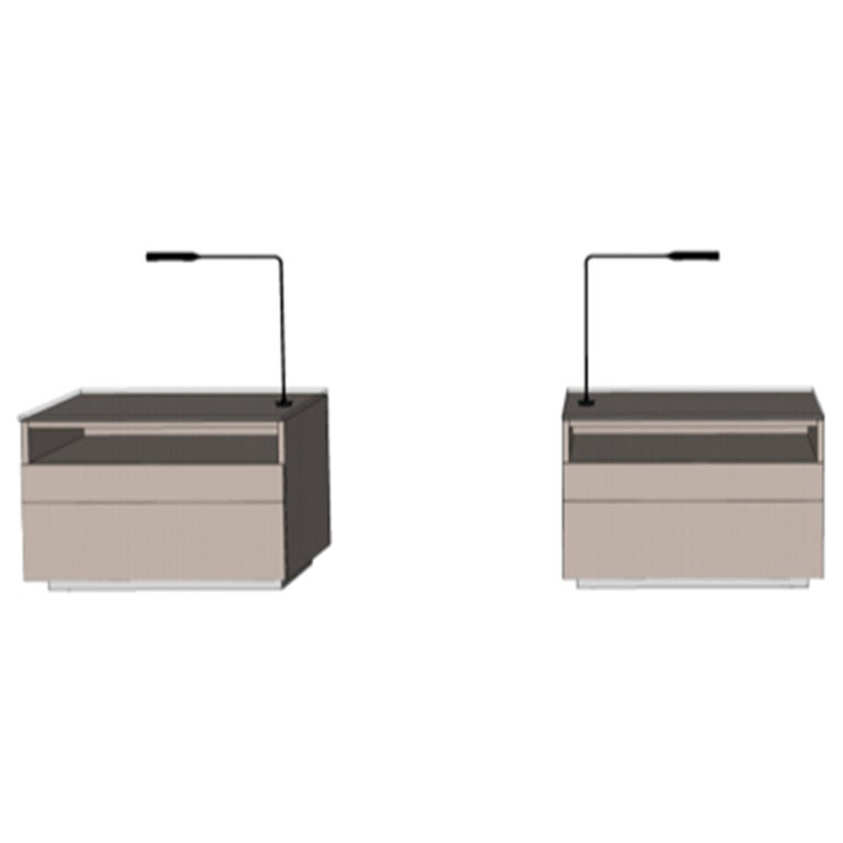 Pair of M2L Brand Cabinetry Nightstands with Foster+Partners Flo lamps For Sale