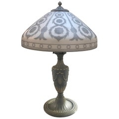 Cameo Glass and Cold Painted Metal Wedgwood Style Lamp