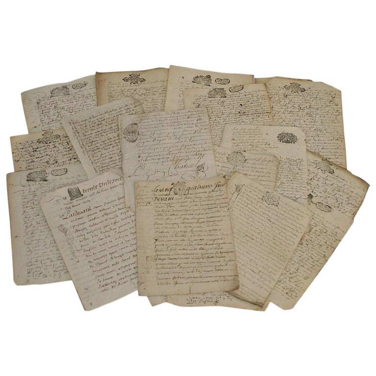 Collection of 20 French, 17th-18th Century Manuscripts For Sale