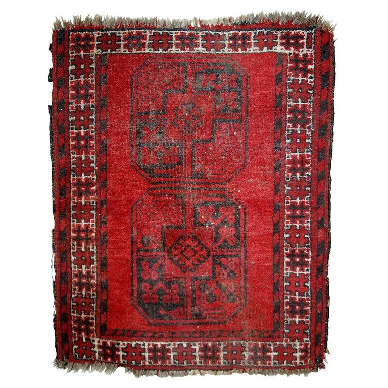 Antique Afghan Rugs: Handmade Antique Afghan Ersari Rug, 1900s, 1C620 For Sale