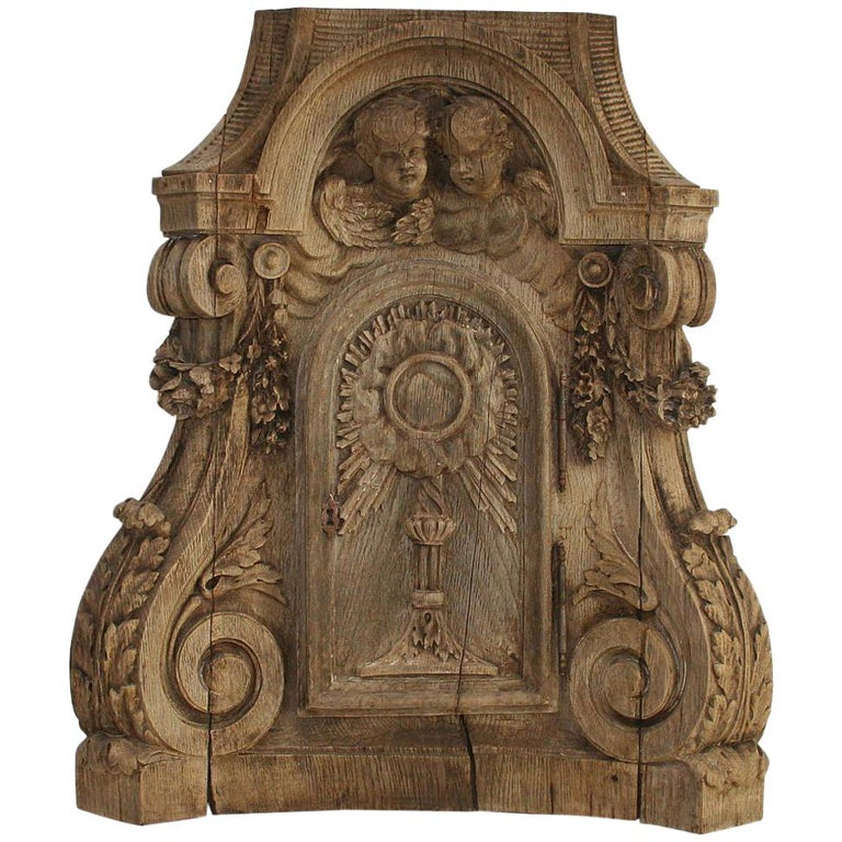 French 18th Century Oak Baroque Tabernacle Front For Sale