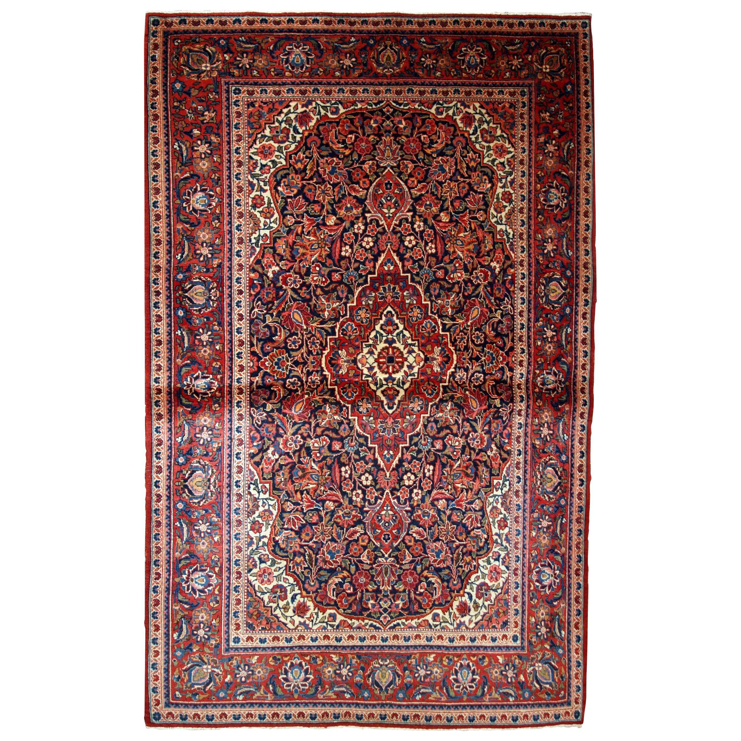 Handmade Antique Kashan Style Rug, 1910s, 1B734