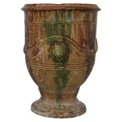 19th Century French Glazed Terracotta Anduze Vase, Planter