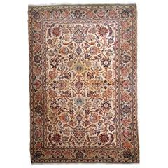 Handmade Antique Kashan Style Rug, 1910s, 1B735